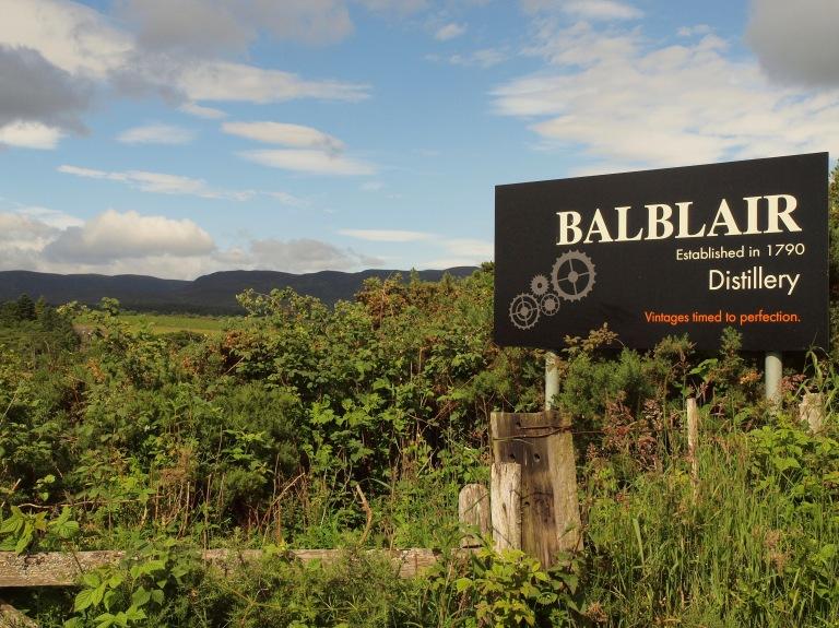Balblair distillery sign
