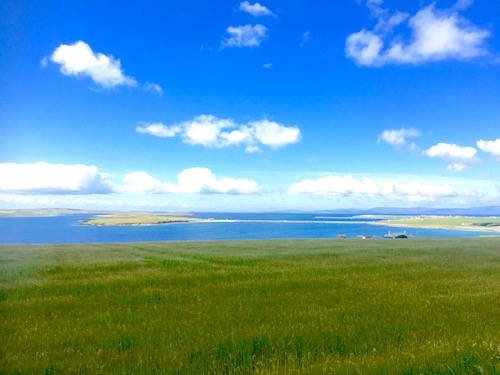 Looking over to Lamb Holm, Glims Holm with burray and South Ronaldsay behind