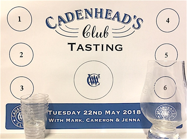 Cadenhead club tastign flight place mat