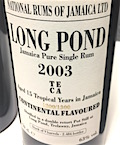 Long Pond 2003 15yo Ob. [LMdW & Velier] 1300:1300 Continental flavoured 9 casks [2484 bts] 63%