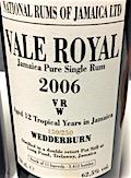 [Long Pond] Vale Royal Wedderburn 2006 12yo [LMdW & Velier] 150:250 11 casks [3412 bts] 62.5%
