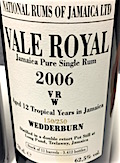 [Long Pond] Vale Royal Wedderburn 2006 12yo [LMdW & Velier] 150:250 11 casks [3412 bts] 62.5%